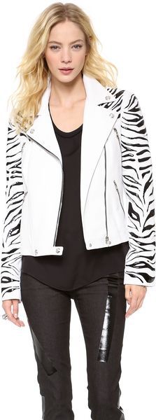 Versace Leather Motorcycle Jacket in White (White/Black)