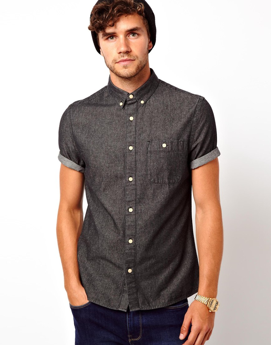 Lyst puma asos black denim shirt in short sleeve in Black shirt blue jeans