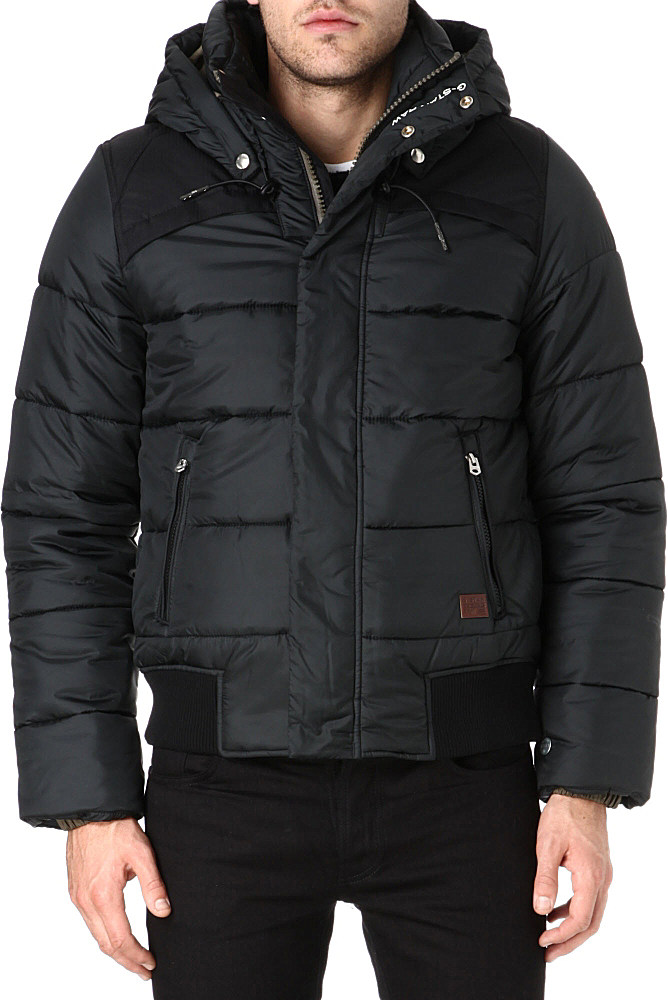 g star raw whistler hooded bomber jacket in black for men lyst. Black Bedroom Furniture Sets. Home Design Ideas
