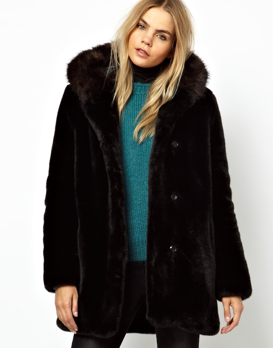 Parka london Hazel Faux Fur Coat with Contrast Fur Hood in Black ...