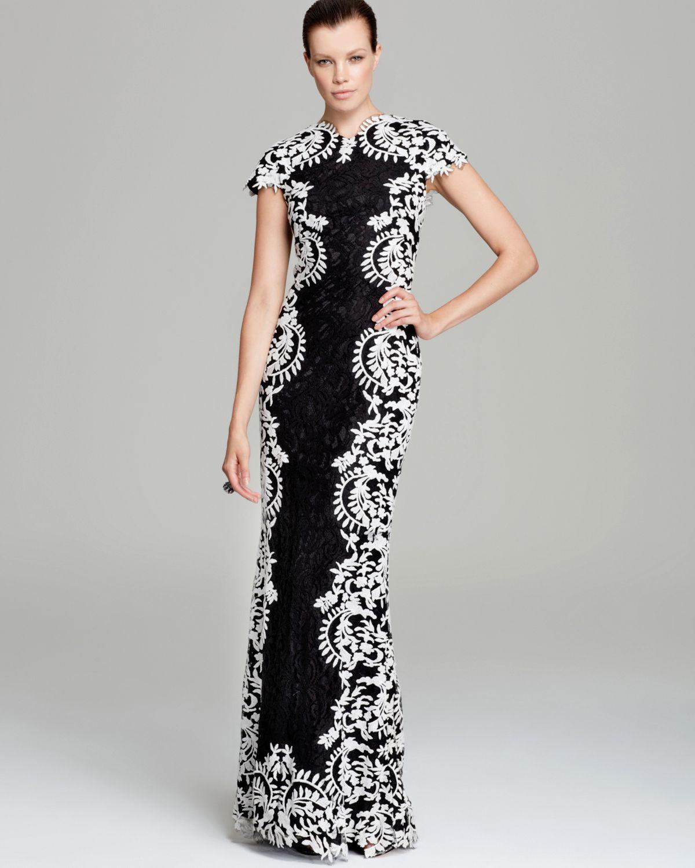 lyst tadashi shoji contrast lace gown cap sleeve  black