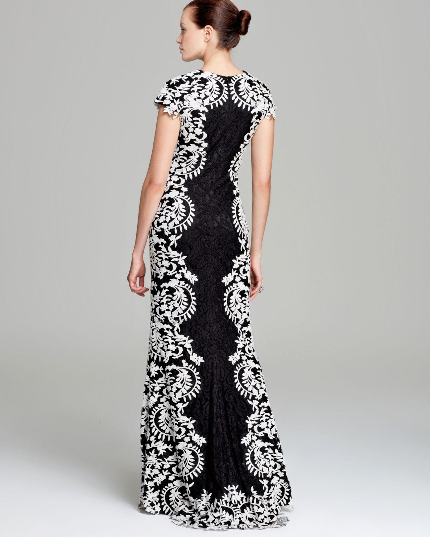 Lyst - Tadashi Shoji Contrast Lace Gown Cap Sleeve in Black