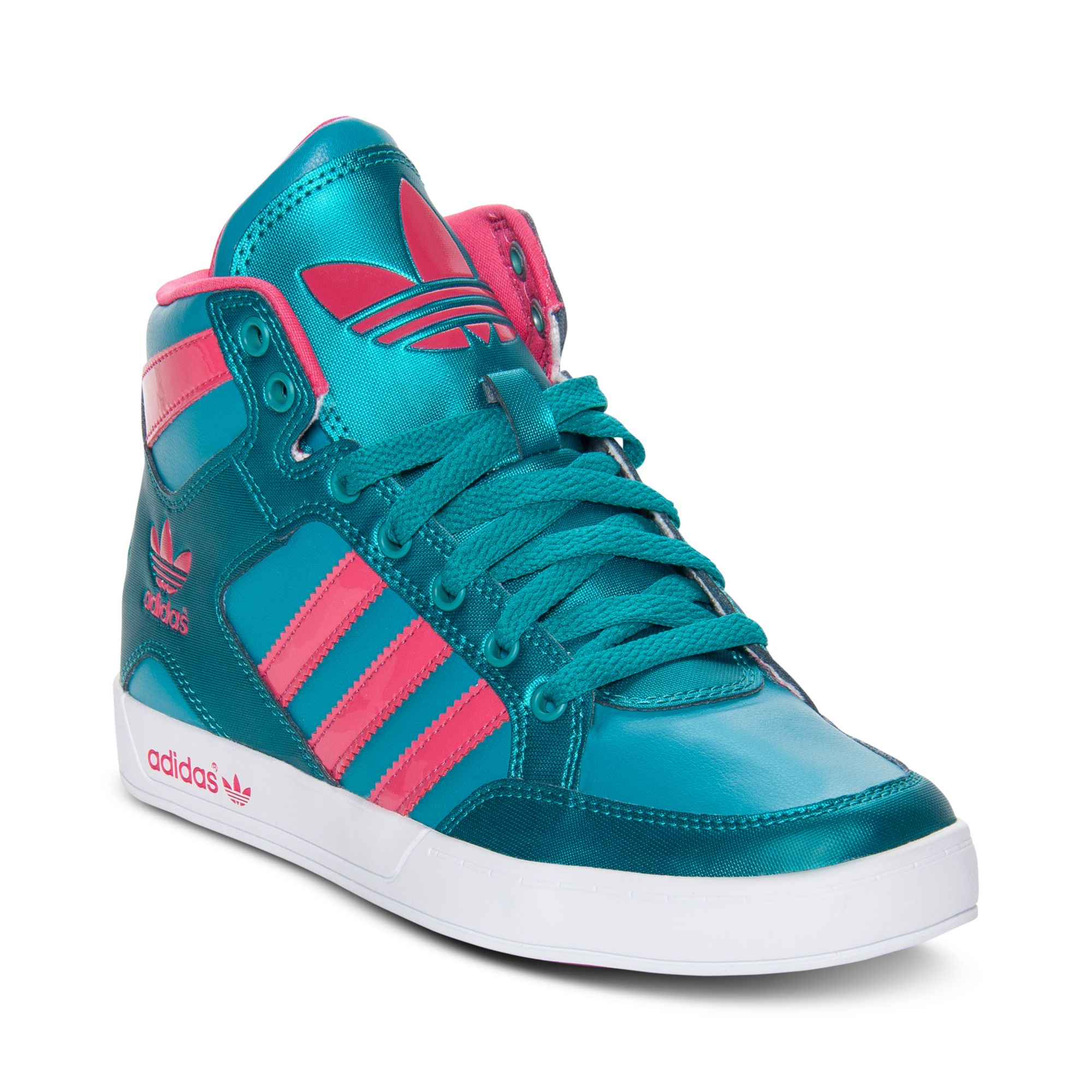 adidas hardcourt high top casual sneakers in green blast emerard blaze pink lyst. Black Bedroom Furniture Sets. Home Design Ideas