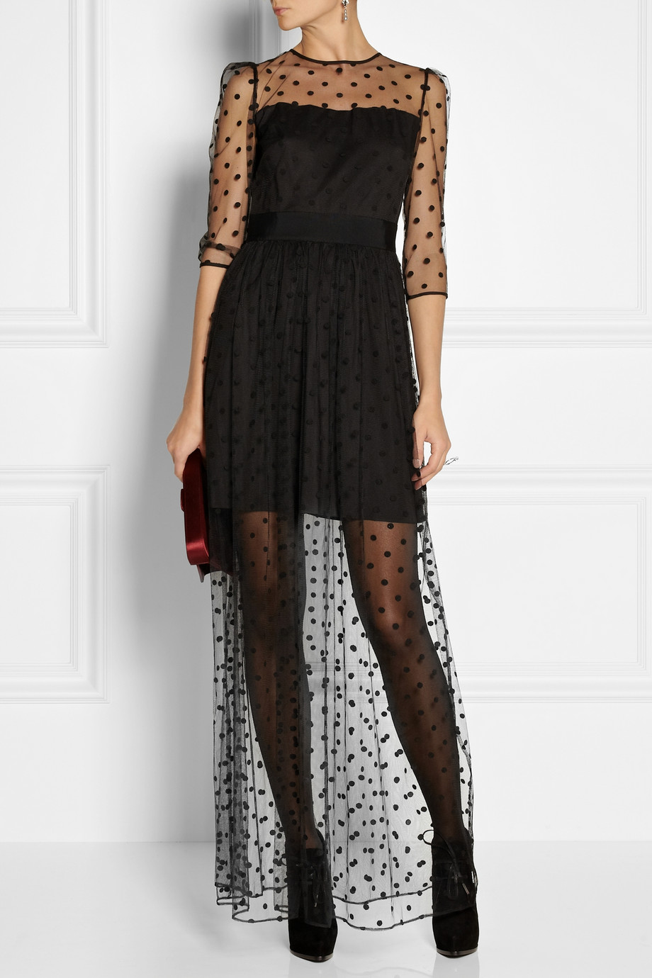 Alice By Temperley Celia Polkadot Tulle Maxi Dress In
