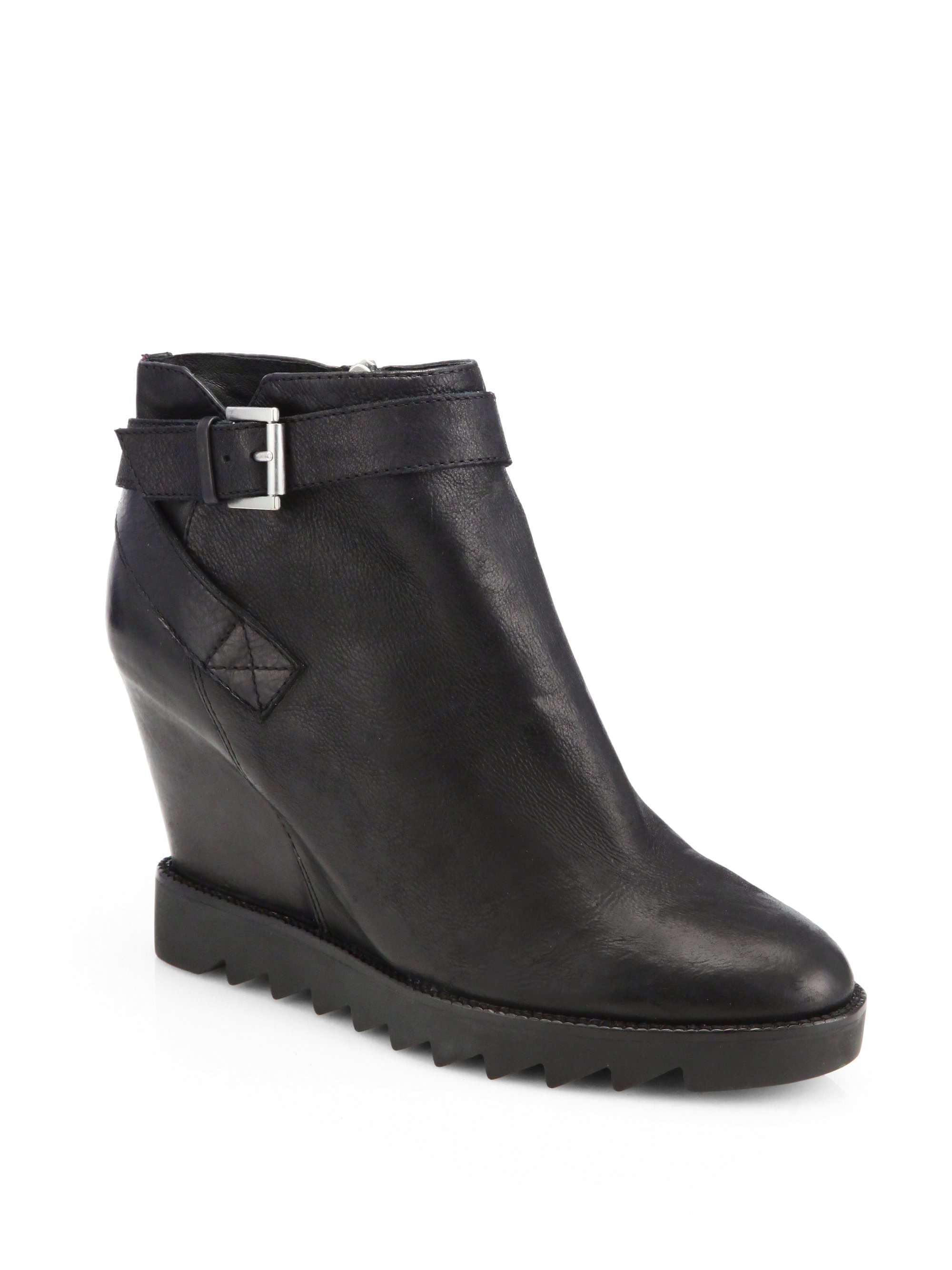 Ash Iona Leather Wedge Ankle Boots In Black Lyst