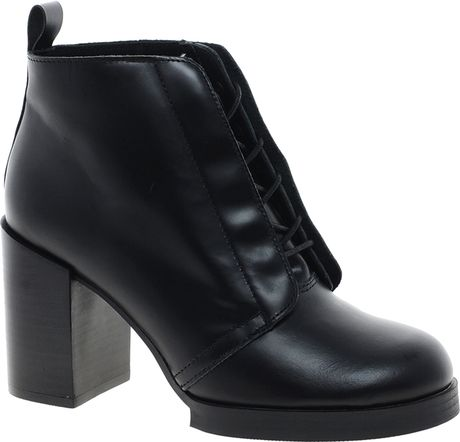 cheap monday layer lace up ankle boots in black lyst