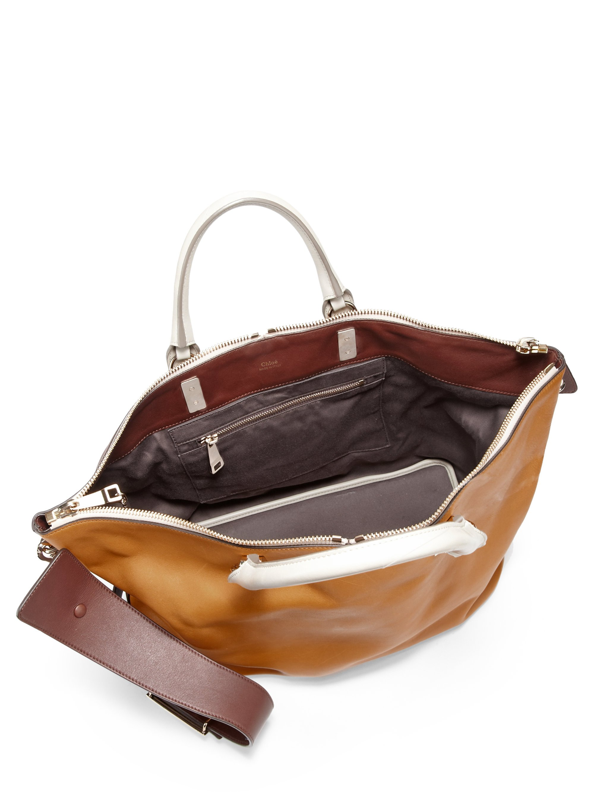 purse chloe - Chlo�� Baylee Large Colorblock Satchel in Brown (MARSHMALLO) | Lyst