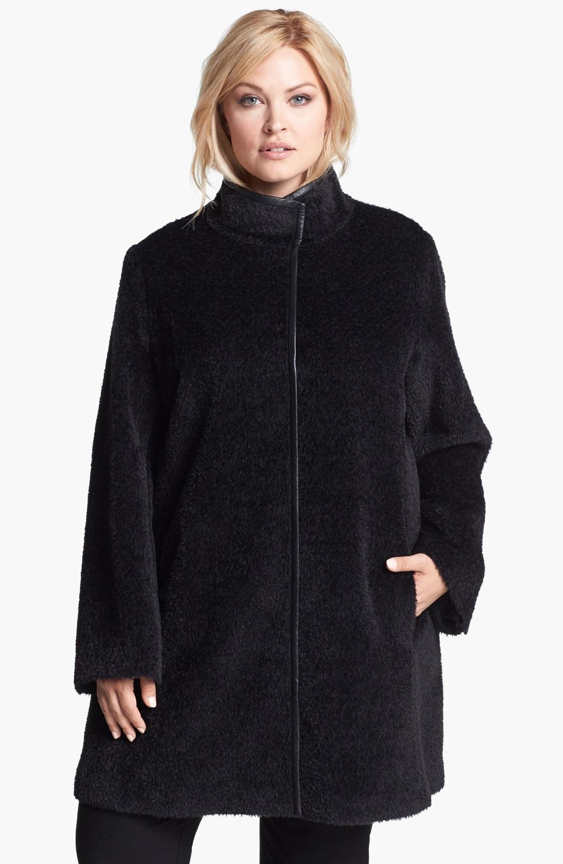 Eileen Fisher Leather Trim Alpaca Wool Blend Coat In Black