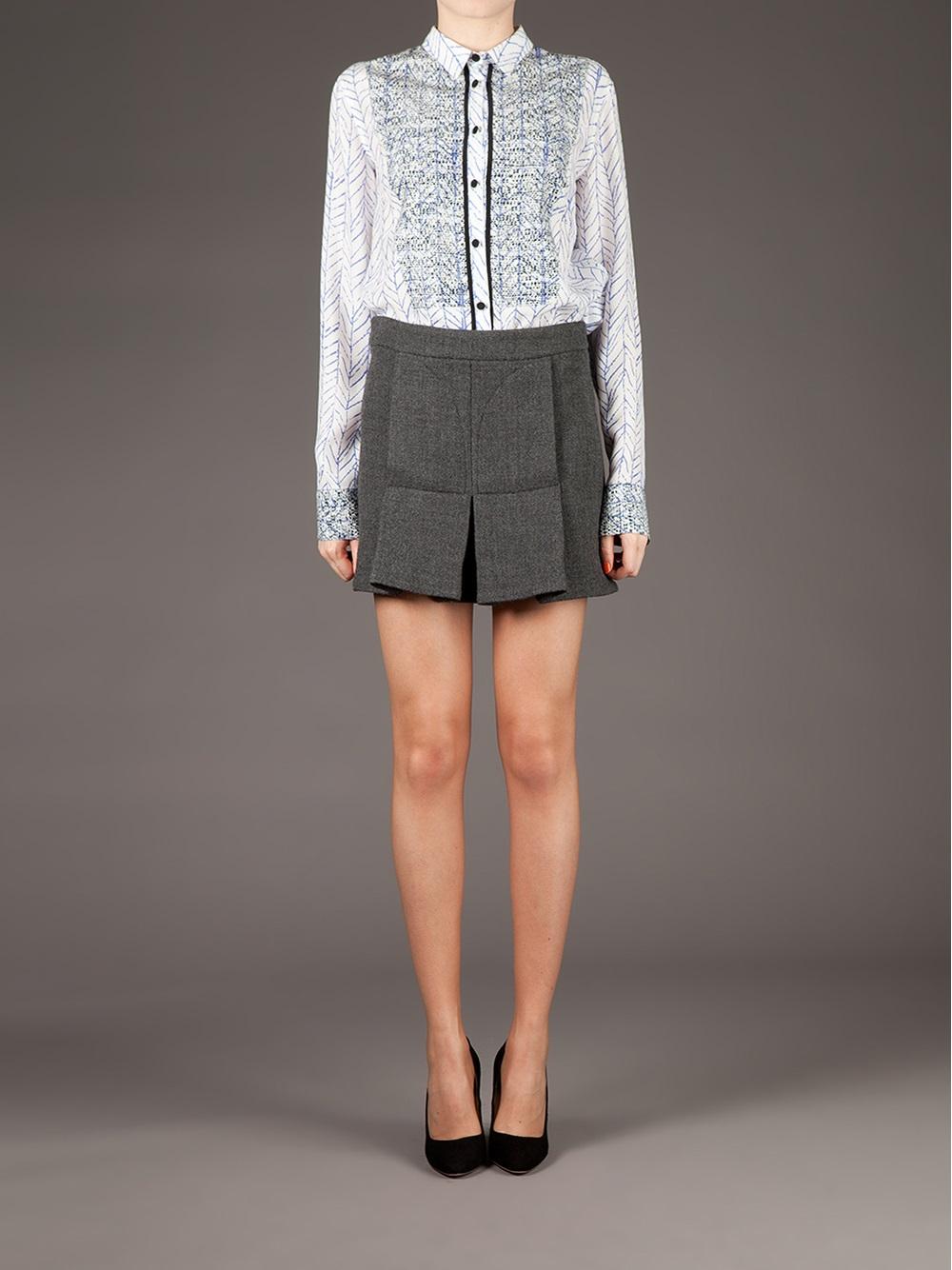 marni pleated mini skirt in gray lyst