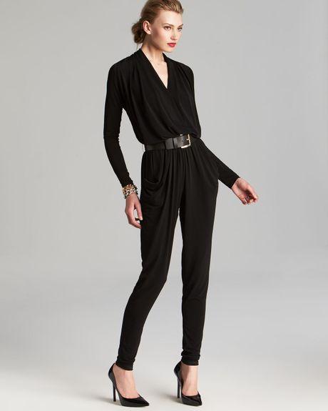 michael michael kors belted jumpsuit in black lyst. Black Bedroom Furniture Sets. Home Design Ideas