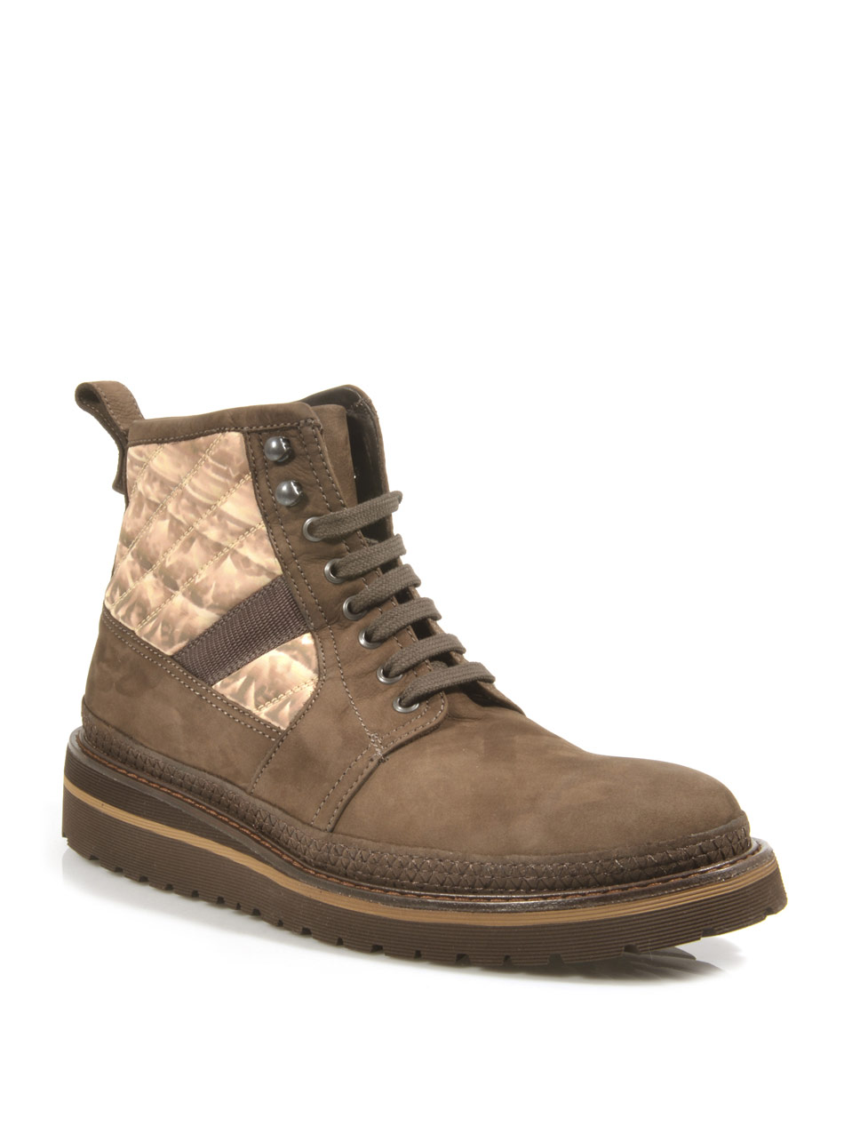 moncler suede and printed hiking boots in brown for lyst