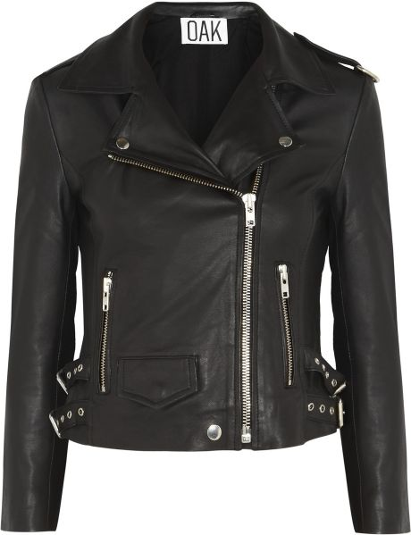 Oak Rider Leather Biker Jacket in Black