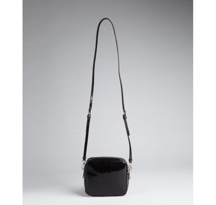 prada saffiano leather briefcase - Prada Black Patent Leather Flower Cutout Crossbody Bag in Black | Lyst