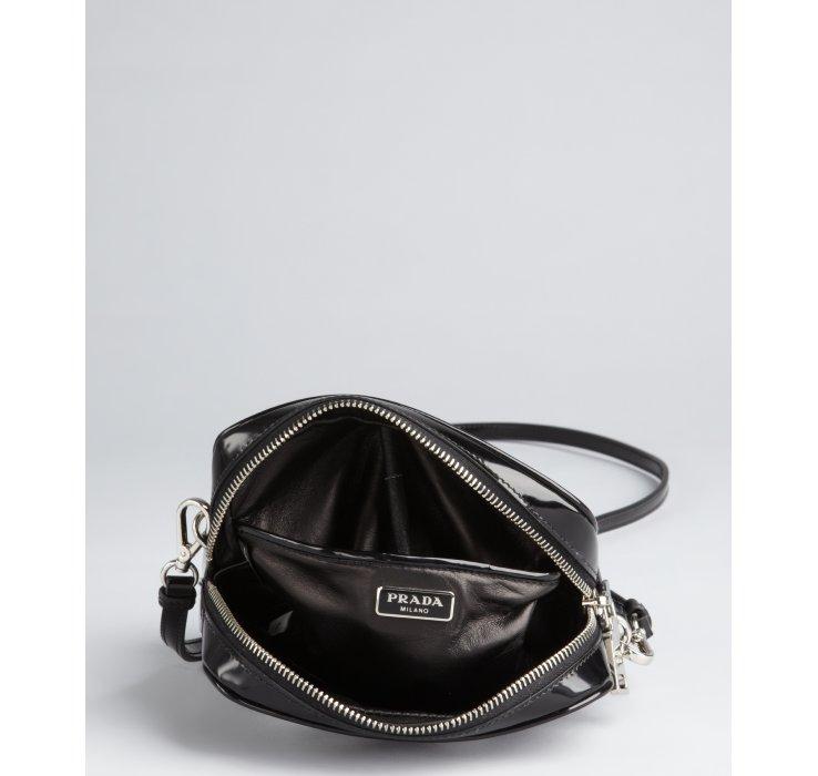 Prada Black Patent Leather Flower Cutout Crossbody Bag in Black   Lyst