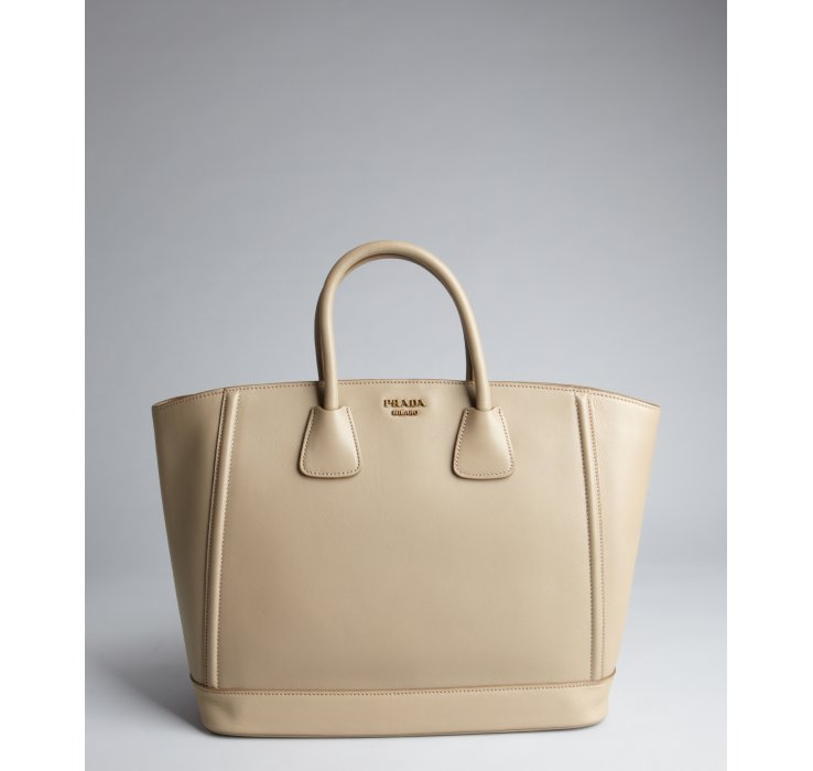 Prada Grey Leather Large Top Handle Bag in Beige (grey) | Lyst