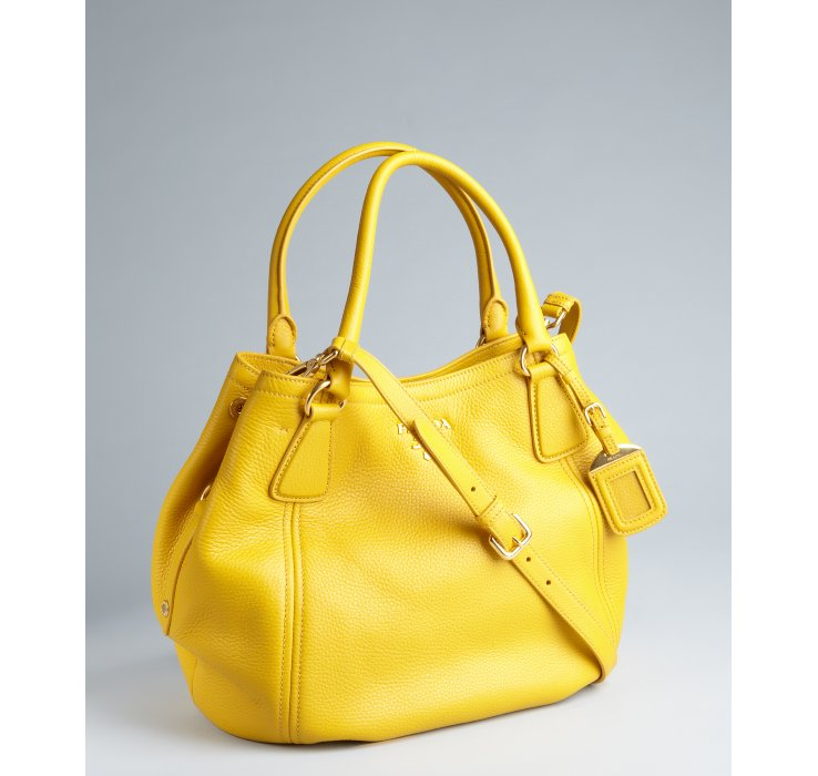 Prada Mimosa Pebbled Leather Convertible Hobo Bag in Yellow | Lyst