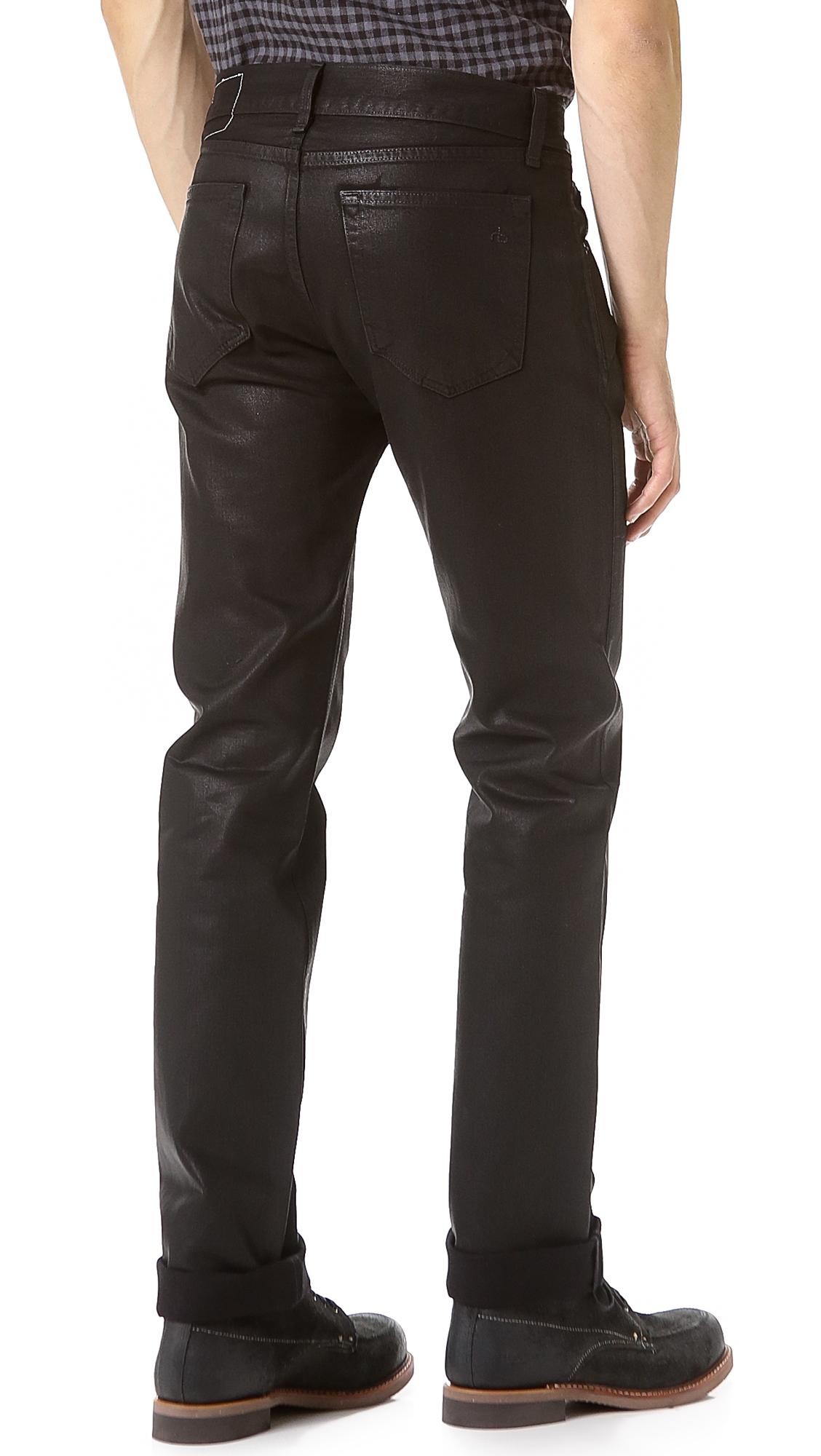 Rag & Bone Rb15x Black Coated Slim Straight Jeans for Men ...