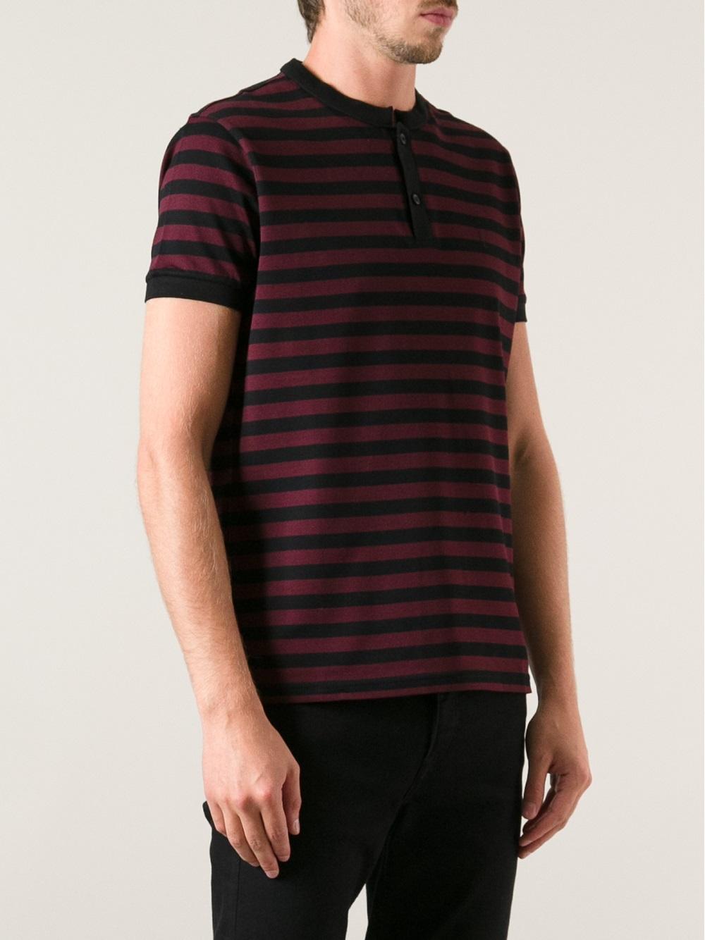 lyst saint laurent striped t shirt in red for men. Black Bedroom Furniture Sets. Home Design Ideas
