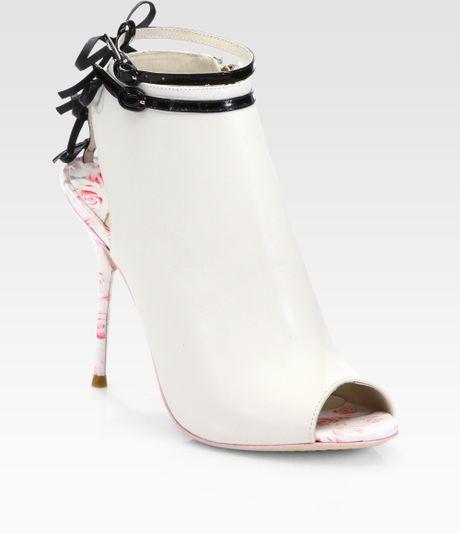 Sophia Webster Isla Leather Roseprint Ankle Boots In White