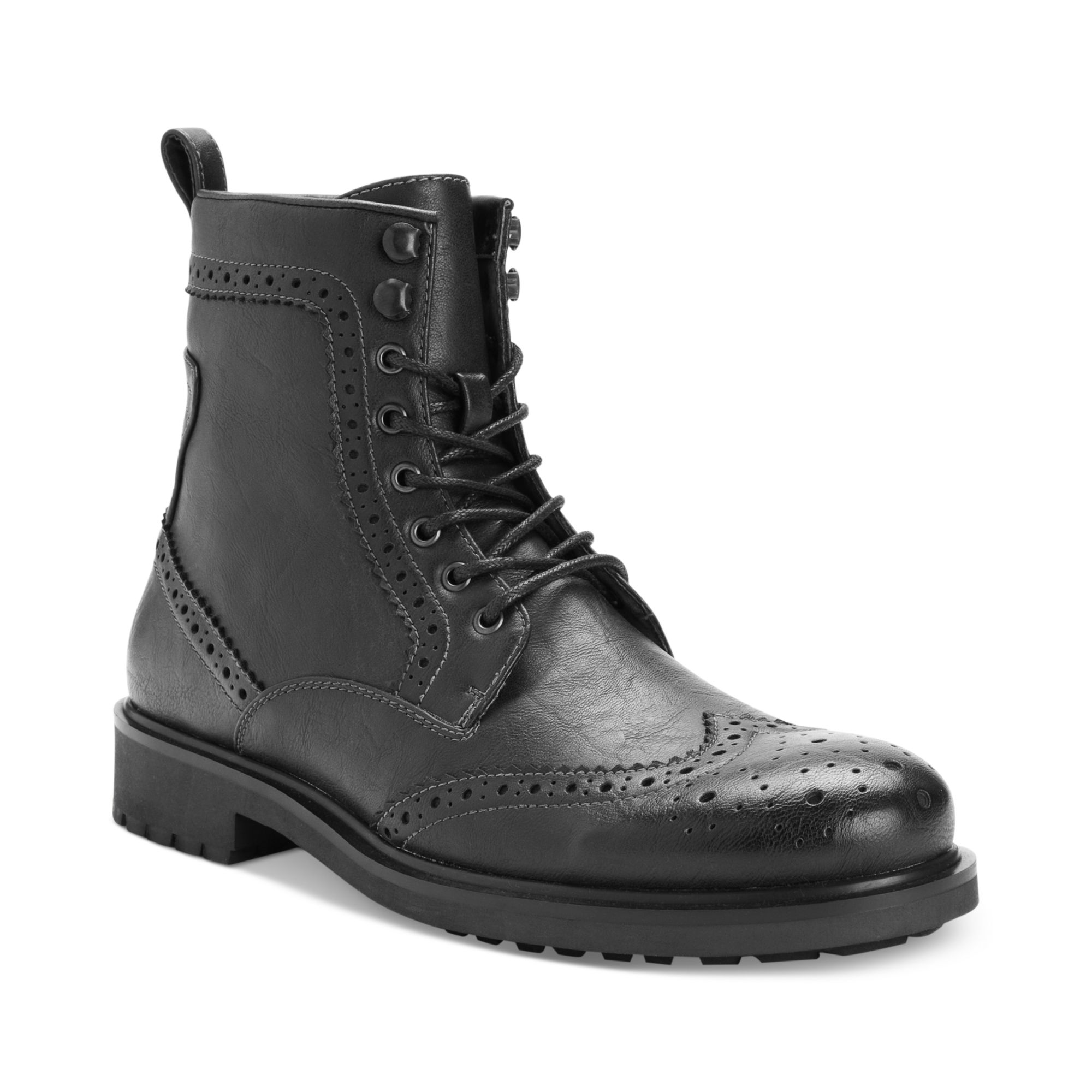 Steve Madden Madden Shoes Mofit Wingtip Boots In Black For
