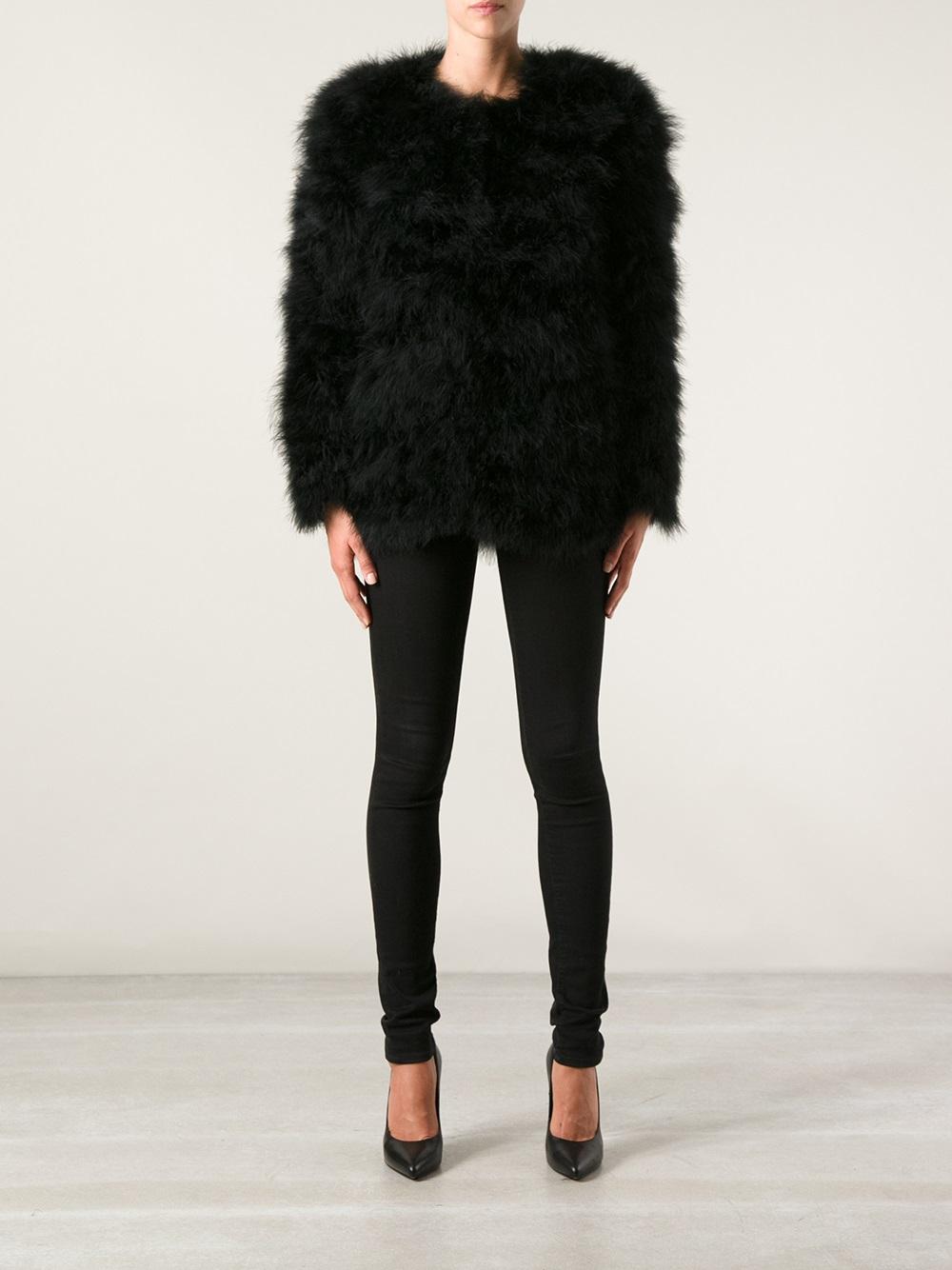 Lyst Stine Goya Nebula Ostrich Feather Jacket In Black