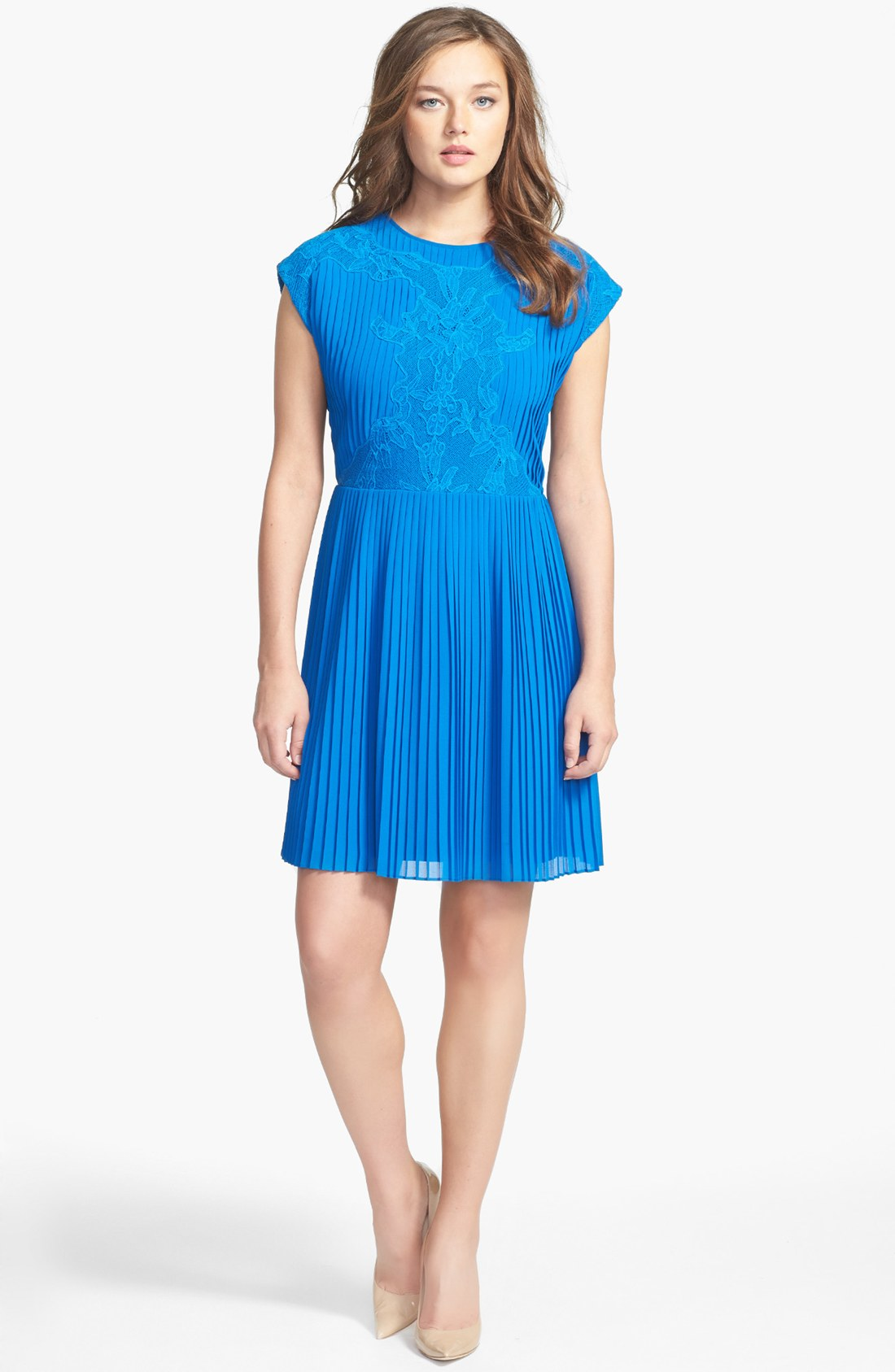 Ted Baker London NEW Saskiah blue Lace Pleated Sleeveless Dress size 1 US 4