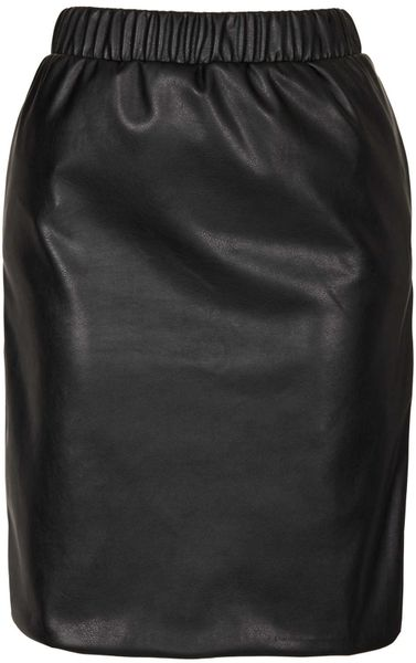 topshop elastic waist faux leather pencil skirt in black