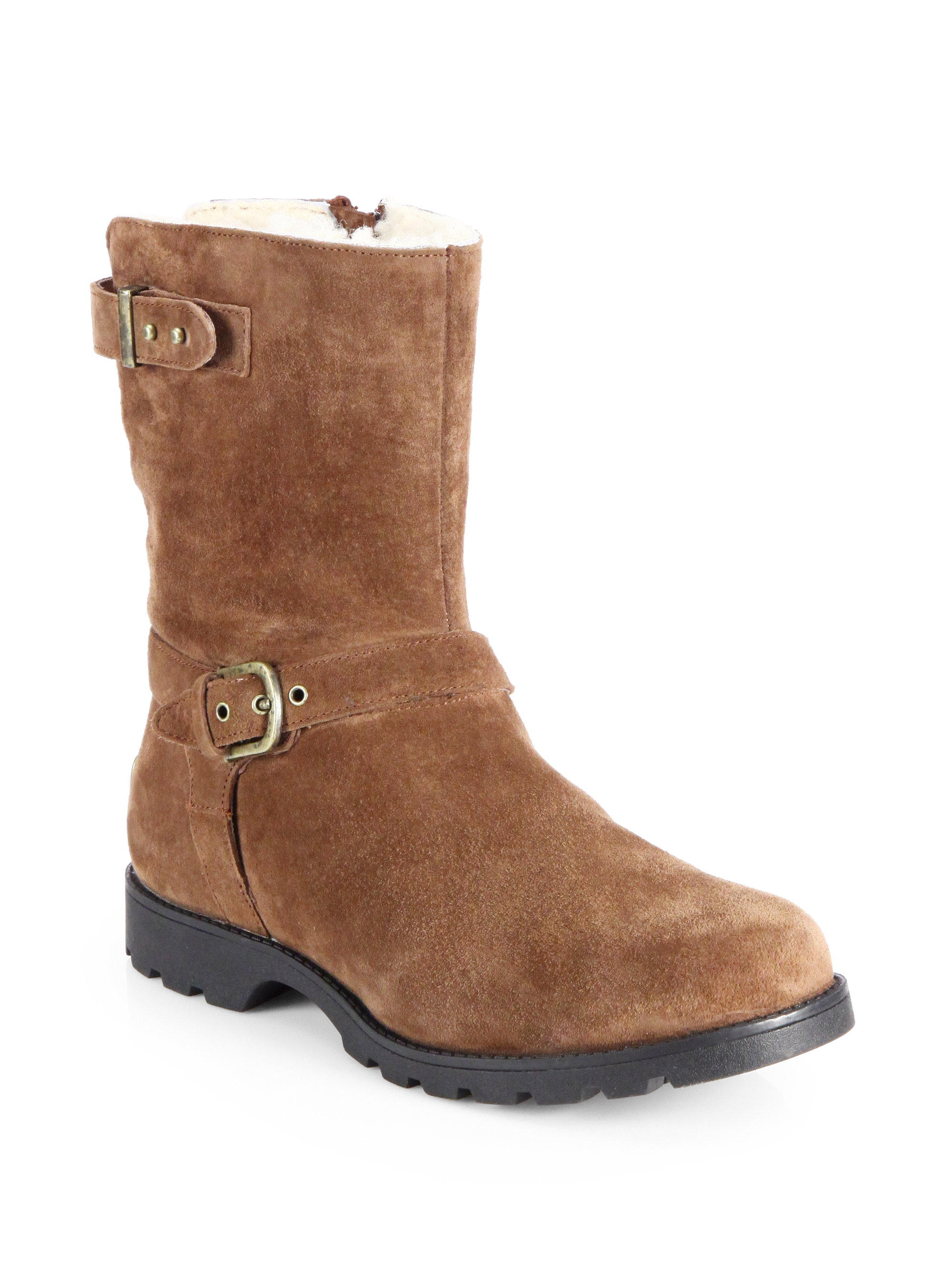ugg grandle suede motorcycle boots in brown lyst