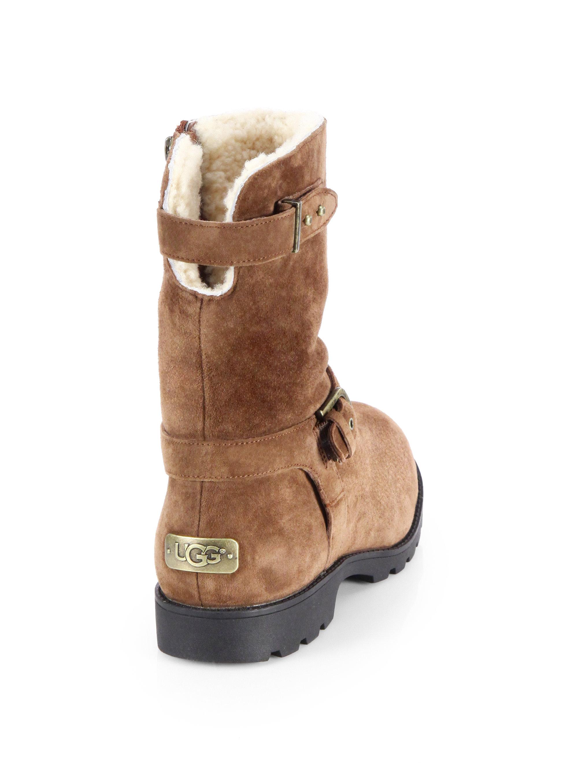 3be567183af UGG Brown Grandle Suede Motorcycle Boots