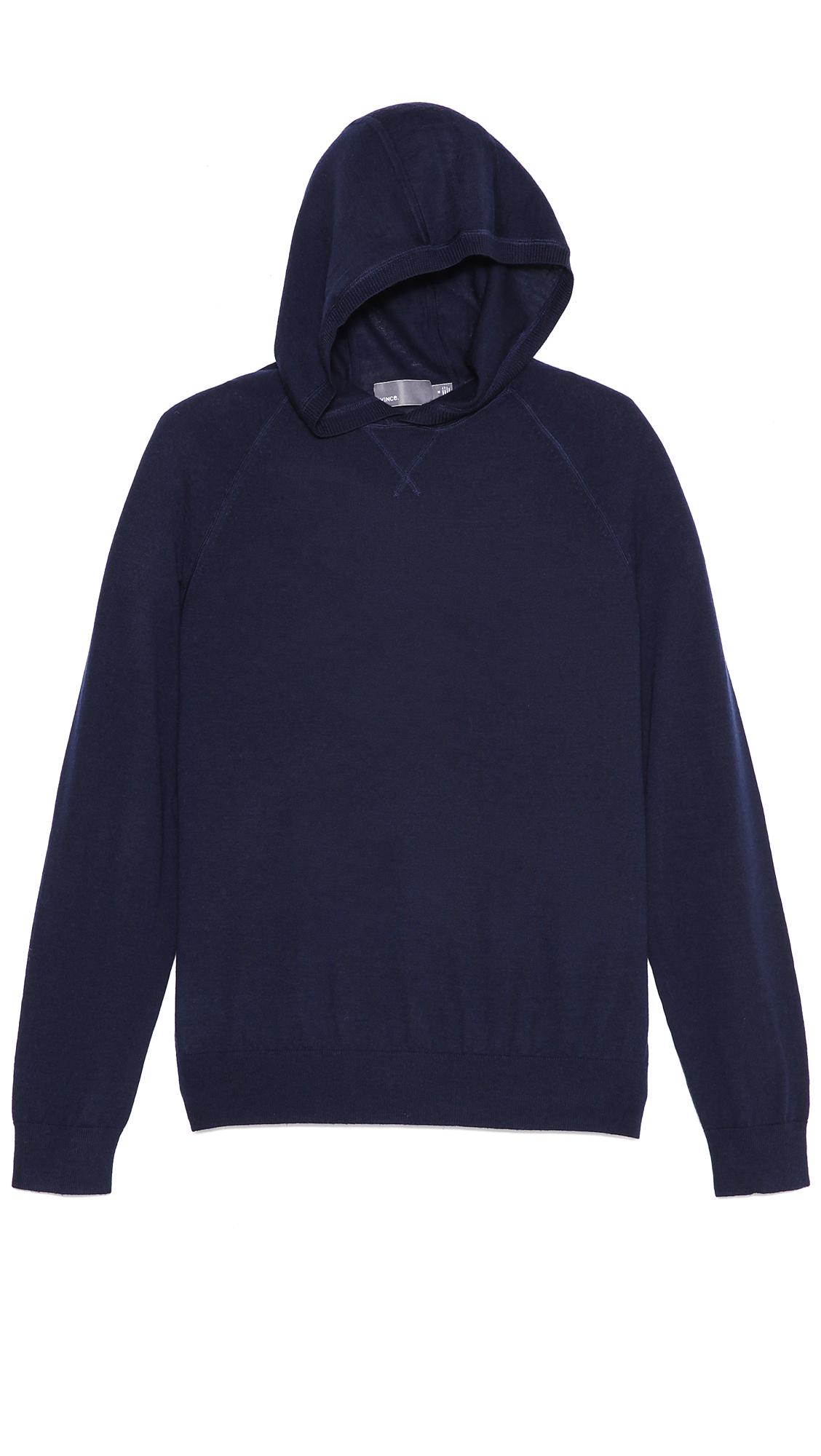 Vince Lightweight Hooded Sweater in Blue for Men | Lyst