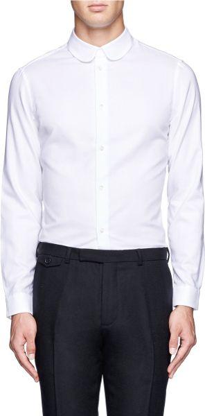 Carven round collar cotton shirt in white for men lyst for Round collar shirt men