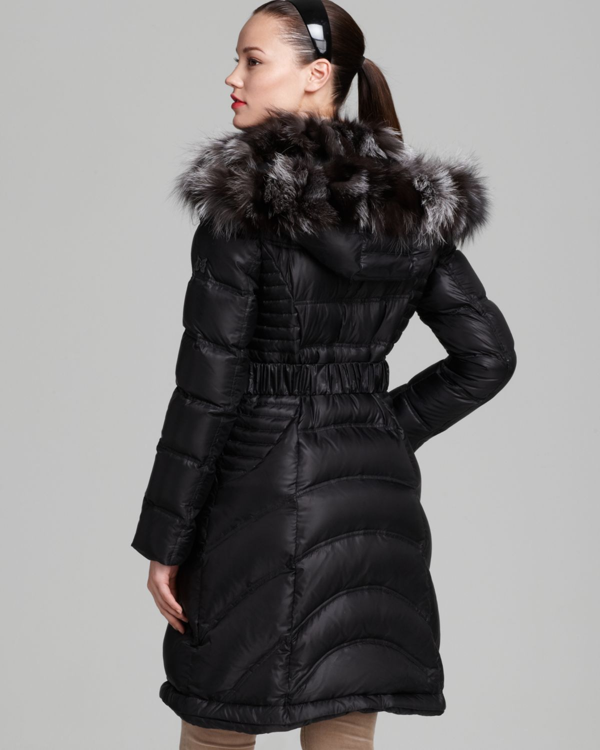 Belted Down Coat With Hood Jacketin
