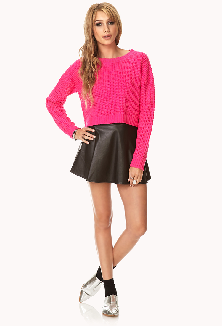 Forever 21 Cropped Waffle Knit Sweater in Pink   Lyst