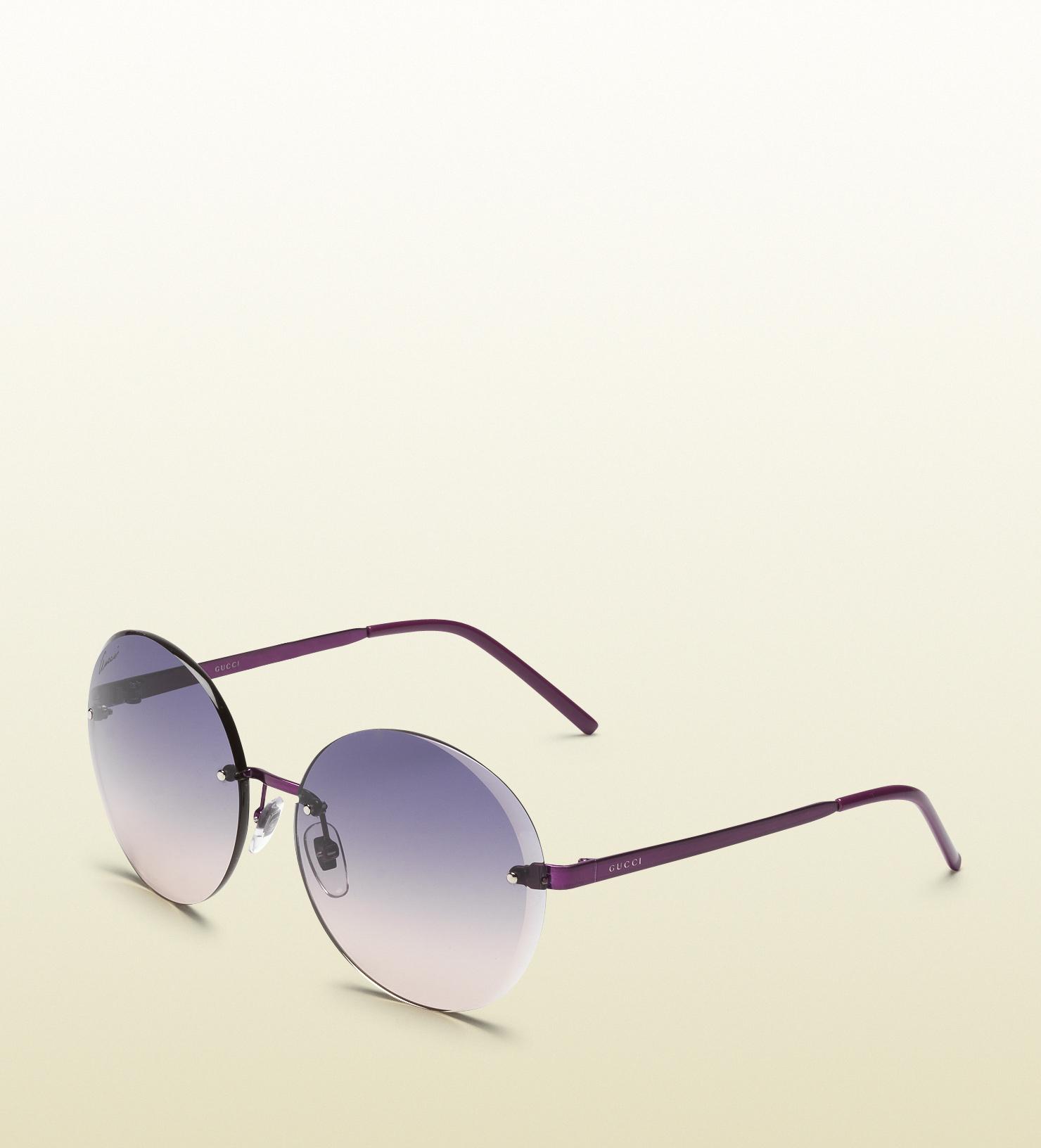 64e99ea82da6c Gucci Flora Round Rimless Sunglasses in Purple for Men - Lyst