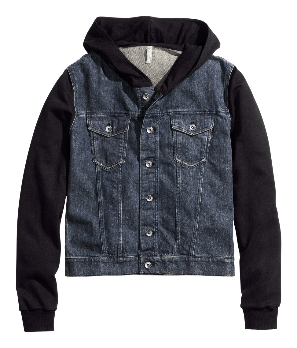 H&ampm Denim Jacket with Hood in Blue for Men | Lyst