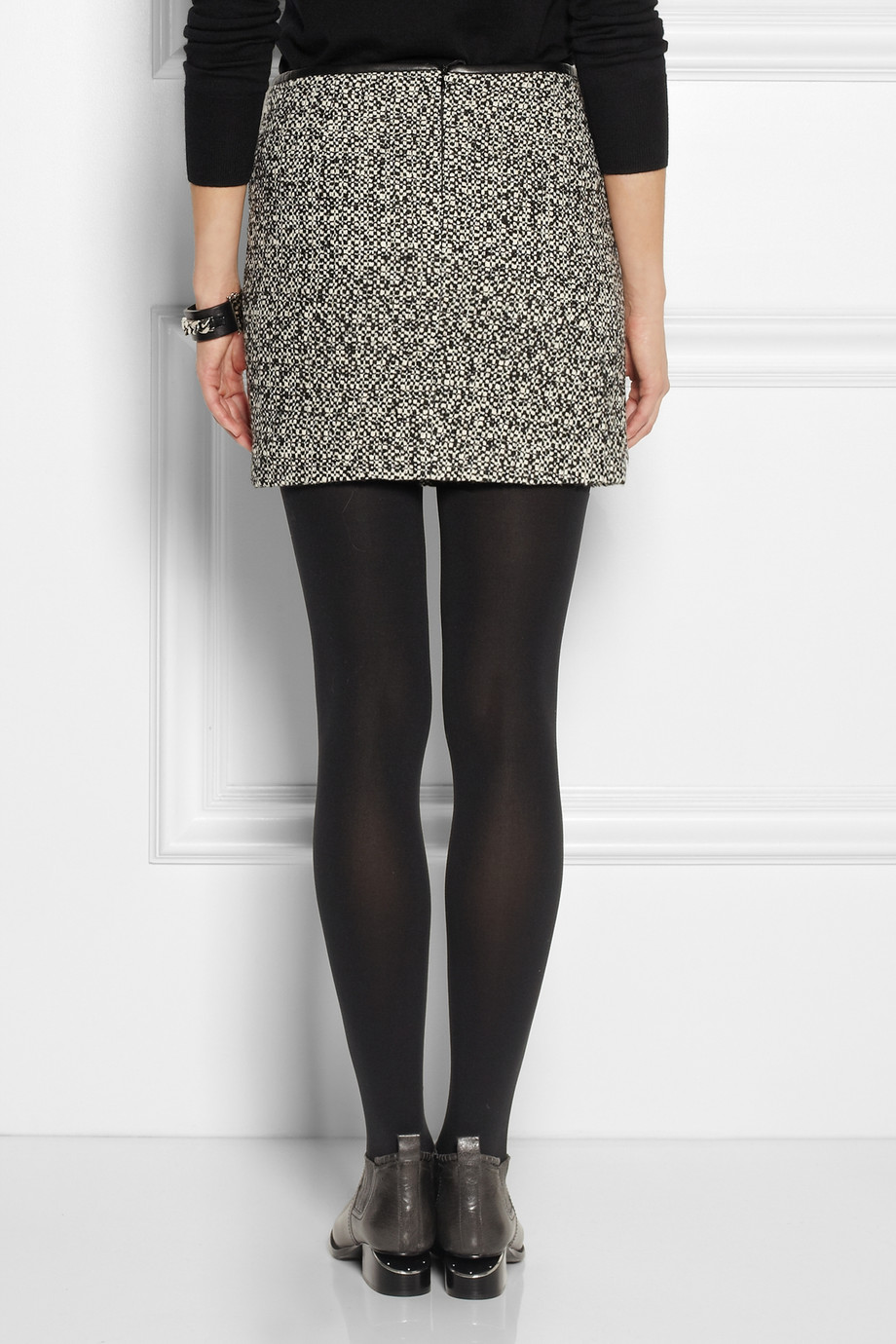 Karl lagerfeld Sabine Leather trimmed Tweed Mini Skirt in Gray | Lyst