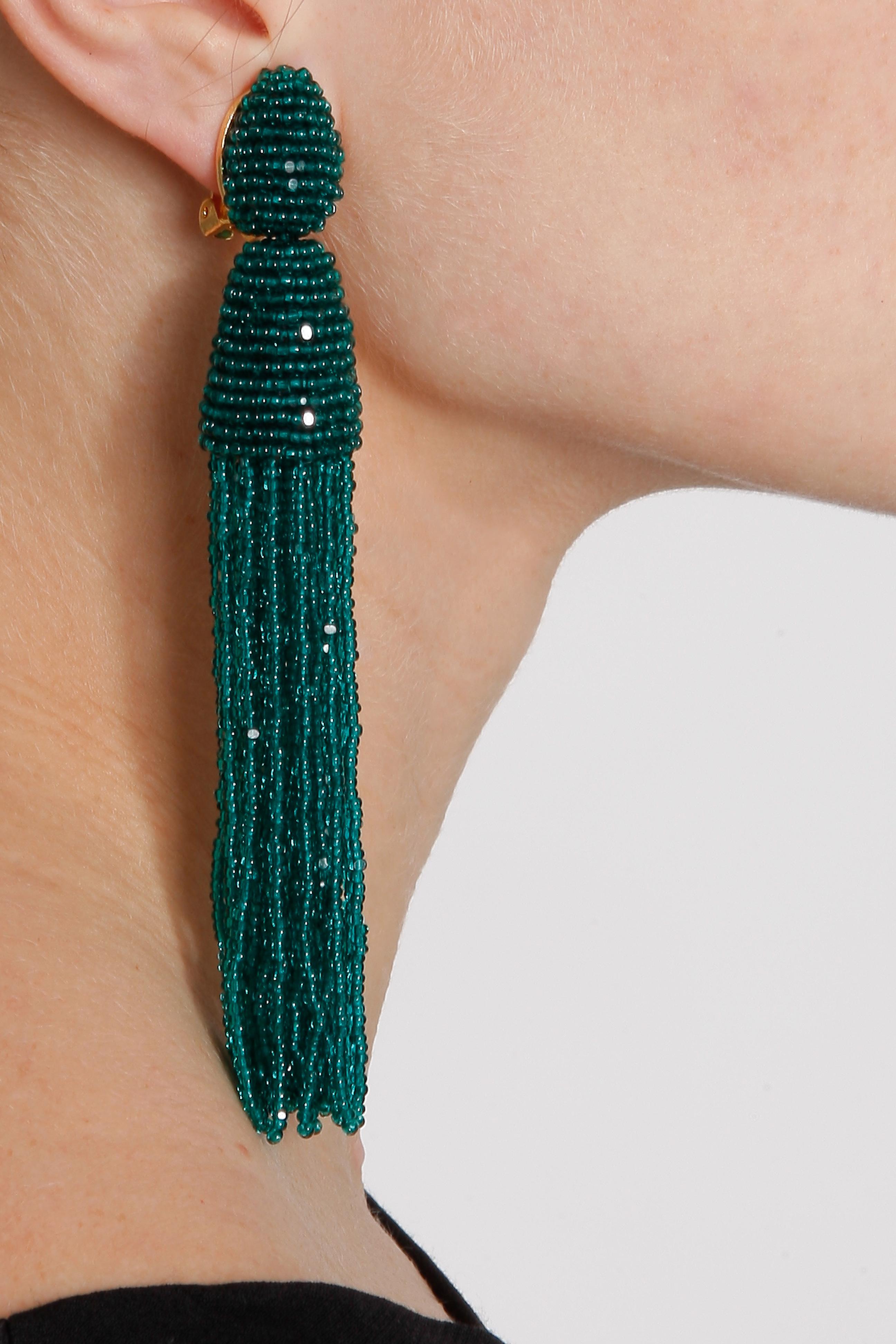Lyst Oscar De La Renta Long Tassel Earring In Green