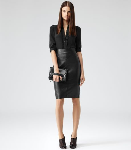 reiss shannon leather pencil skirt in black lyst
