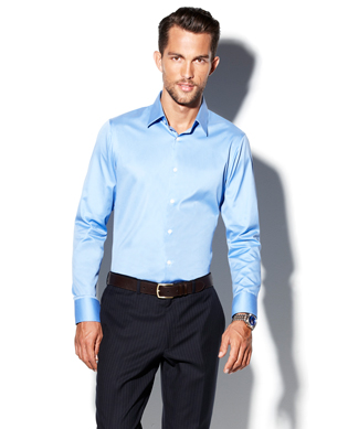 Vince camuto modern fit dress shirt in blue for men lyst for Modern fit dress shirt