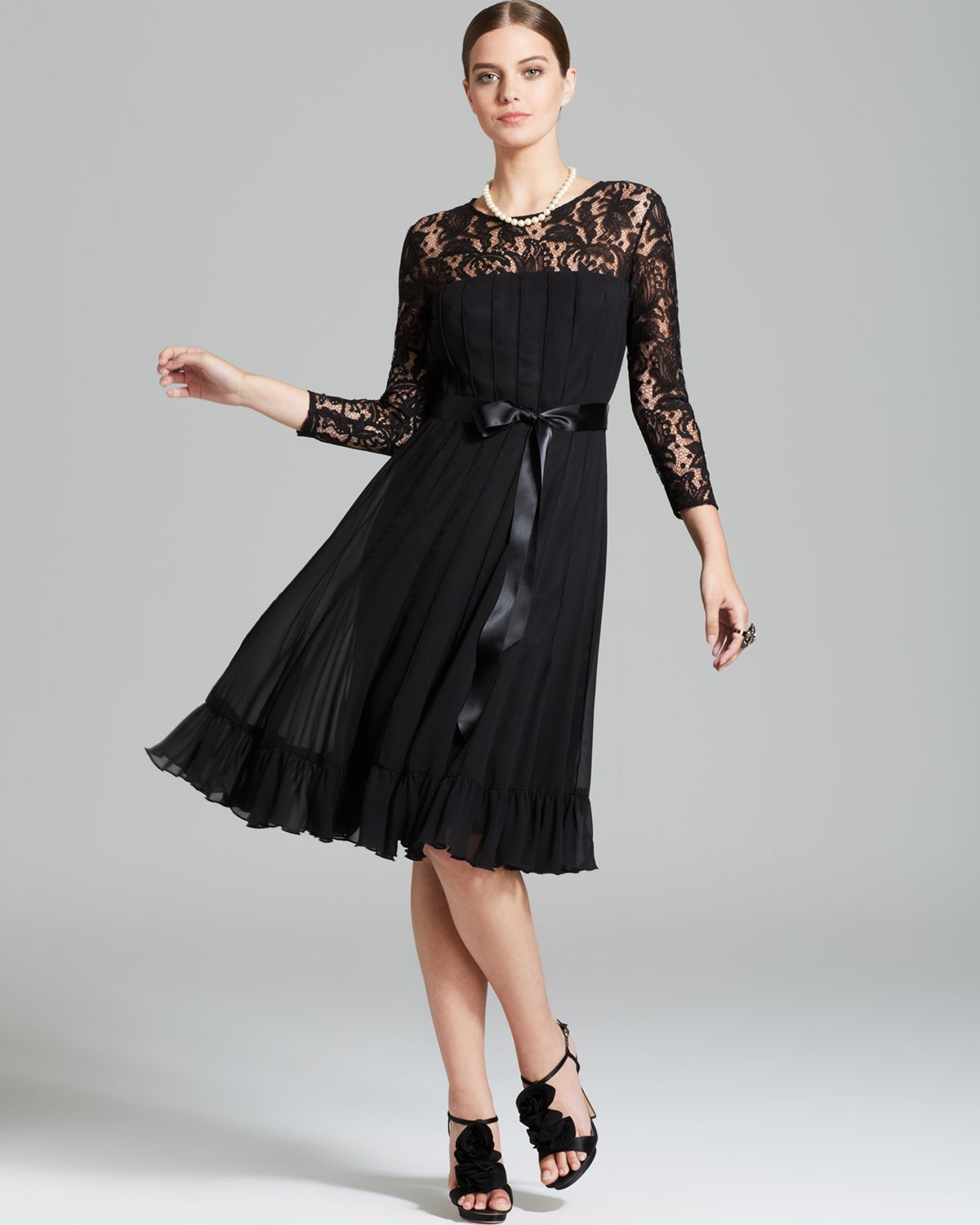 papell belted lace dress with flared chiffon