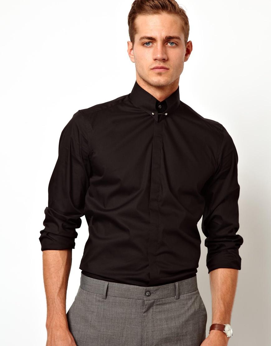 Asos Antony Morato Black Shirt with Collar Bar in Black for Men | Lyst