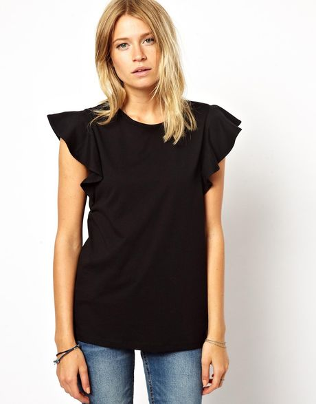 Asos t shirt with frill sleeve in black lyst for Frill sleeve t shirt