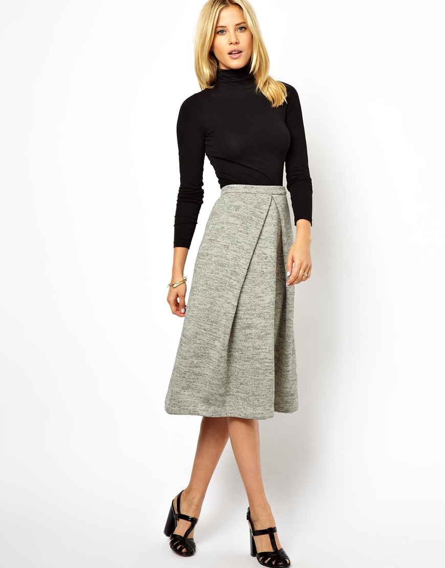 asos midi skirt in soft touch in gray lyst