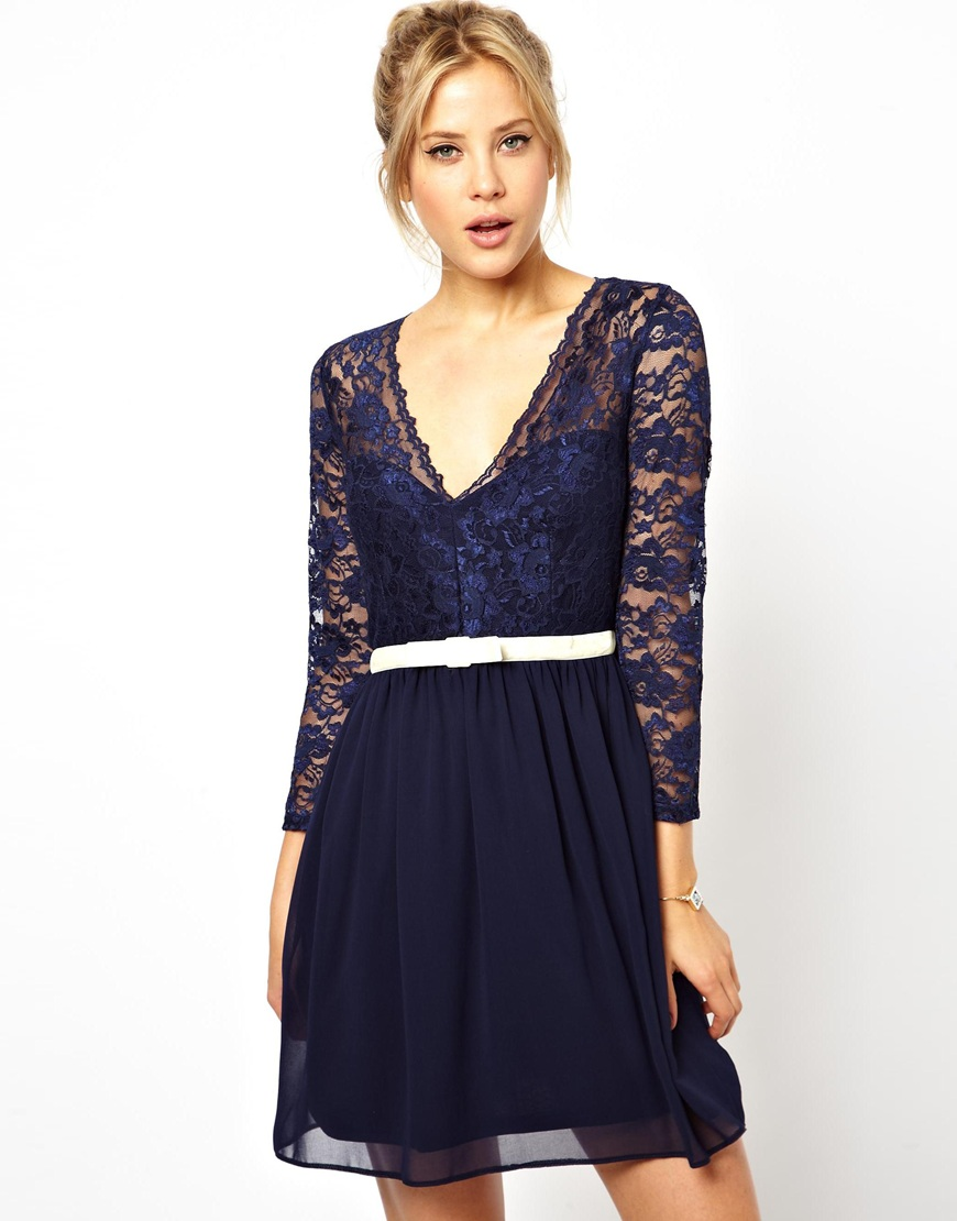 Asos navy lace dress with sleeves