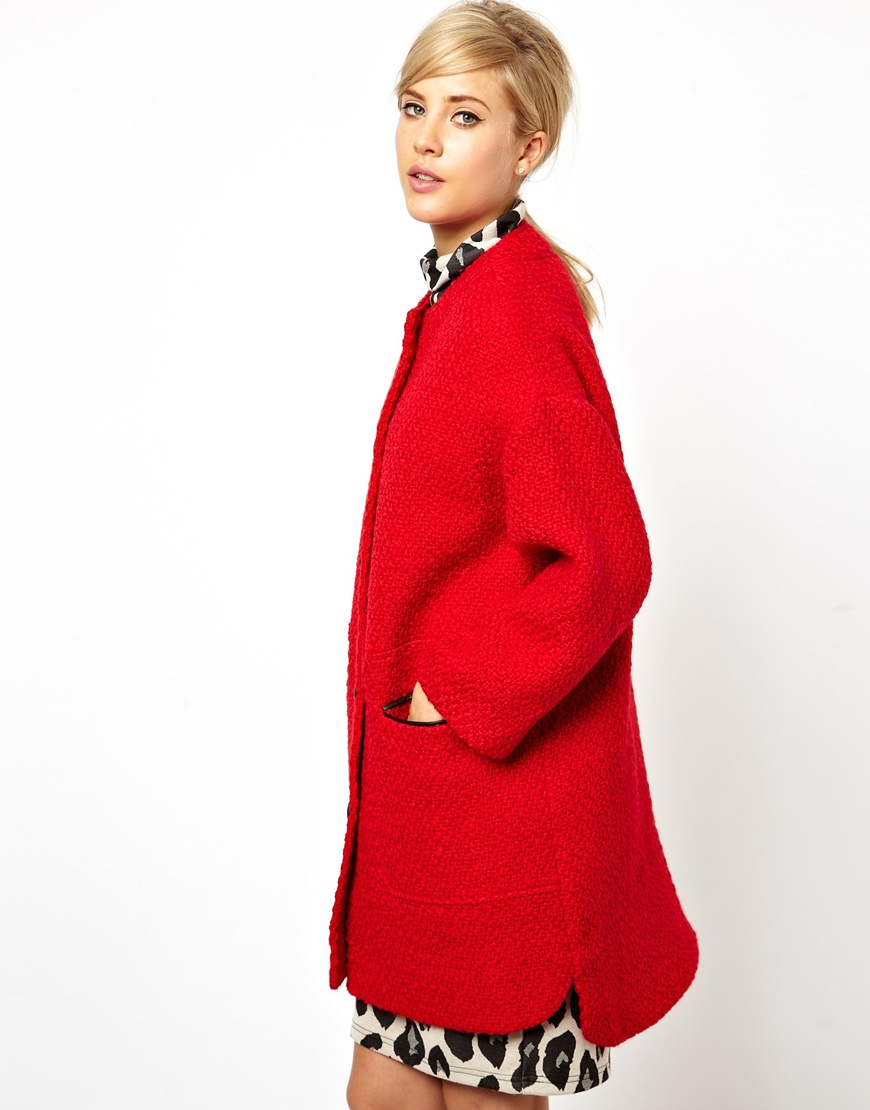 Asos Collarless Button Front Coat in Red | Lyst