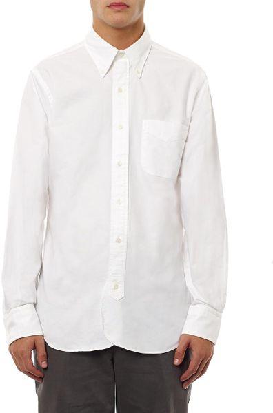 Black Fleece Button Down Cotton Shirt In White For Men Lyst