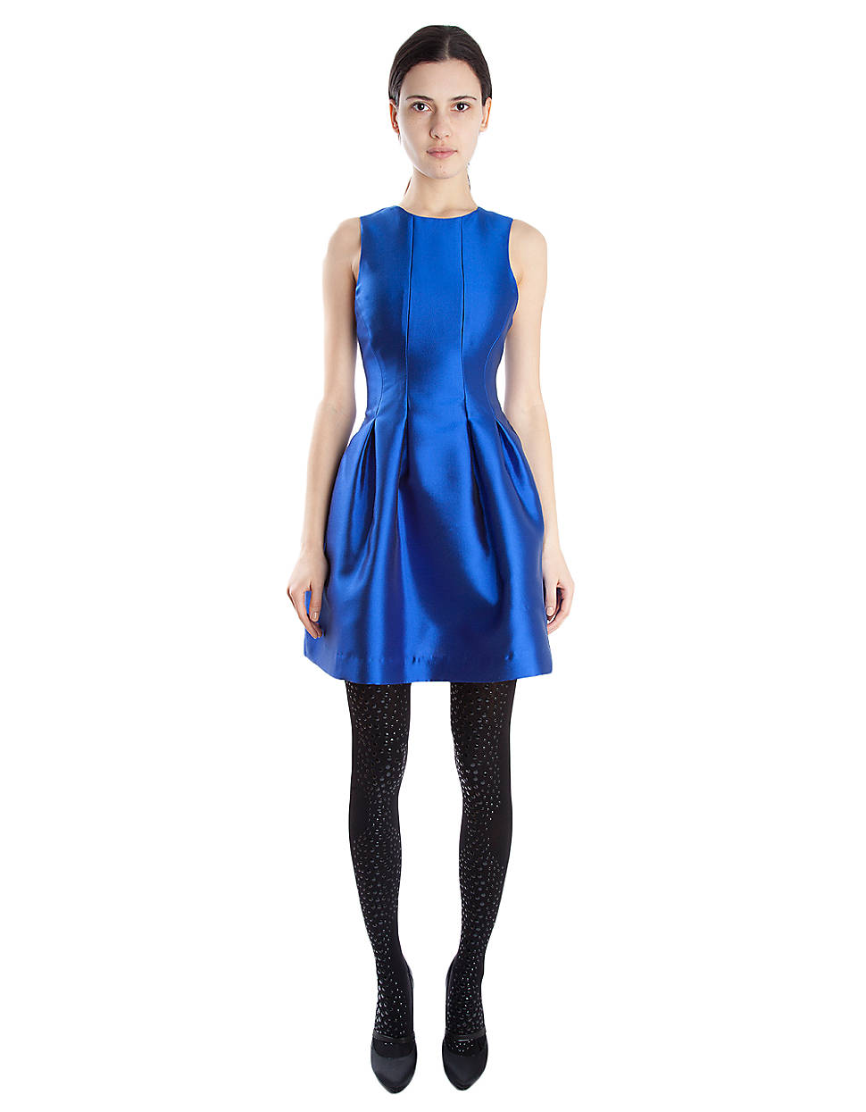 Cynthia Rowley Pleated Satin Fit Flare Dress In Blue Lyst