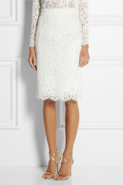 dolce gabbana cottonblend lace pencil skirt in white lyst