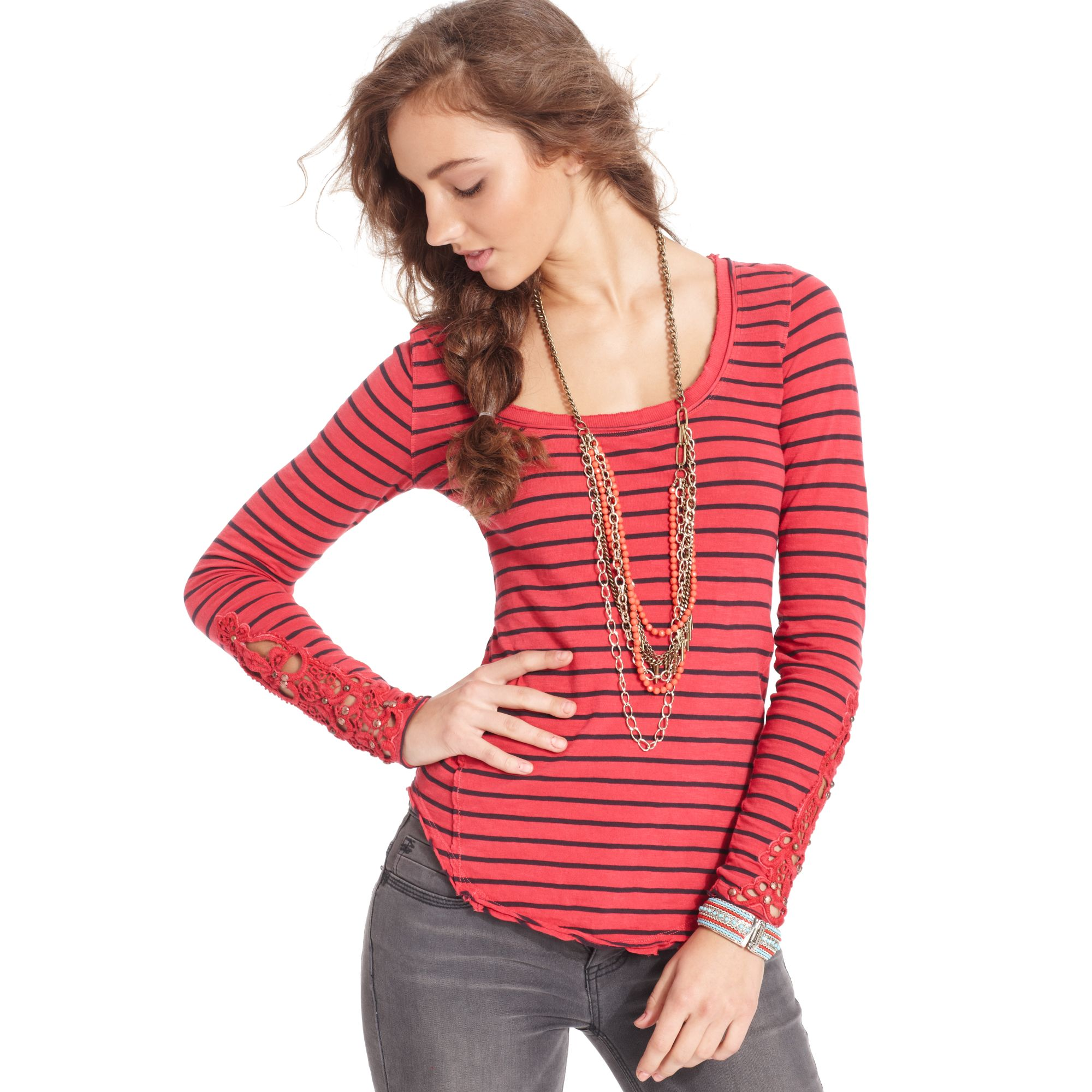 Free People Long-sleeve Scoop-neck Striped Lace In Red