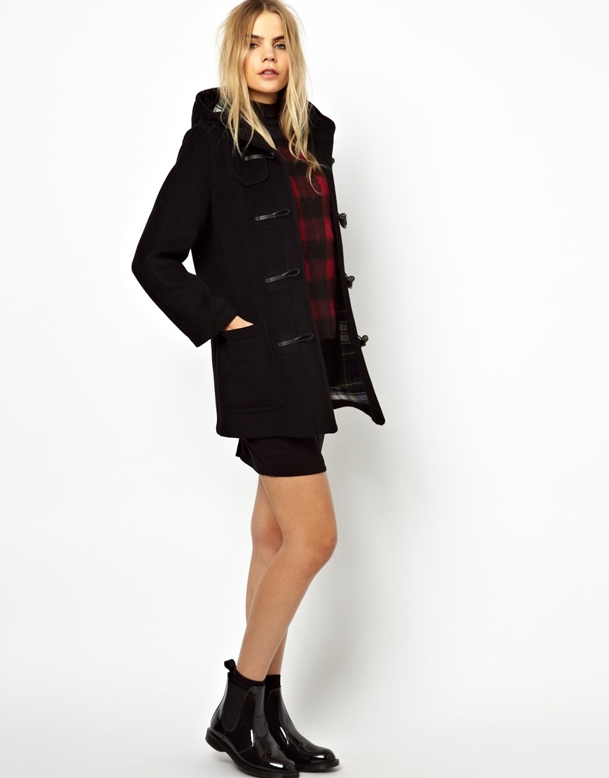Gloverall Original Mid Length Duffle Coat in Check Back Wool in